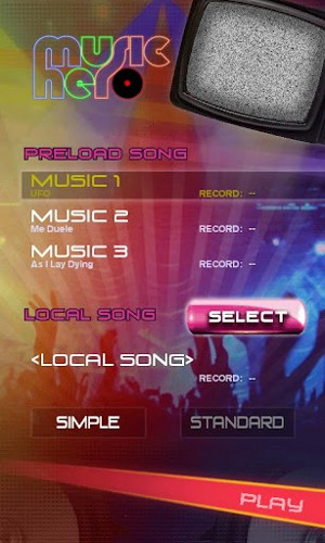ミュージックヒーロー Music Hero 選択画面